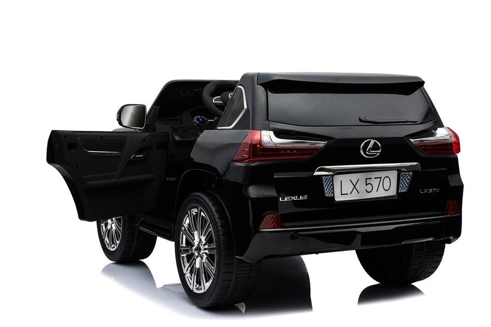 Coche electrico para niños Lexus 570 con MP4 Negro con apertura de puertas