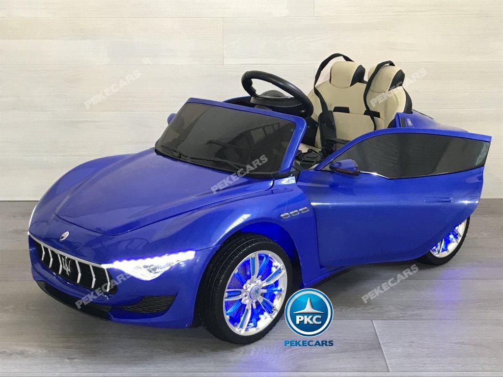 Coche electrico infantil Maserati Alfieri Azul con Pantalla MP4 con apertura de puertas