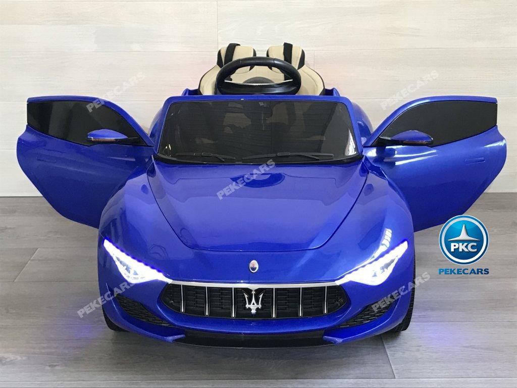 Coche electrico para niños Maserati Alfieri Azul con Pantalla MP4 vista frontal