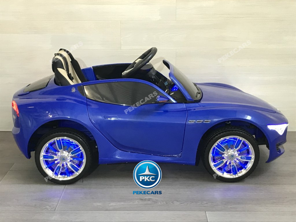 Coche electrico para niños Maserati Alfieri Azul con Pantalla MP4 vista lateral