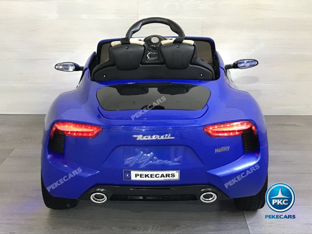Coche electrico infantil Maserati Alfieri Azul con Pantalla MP4 vista trasera