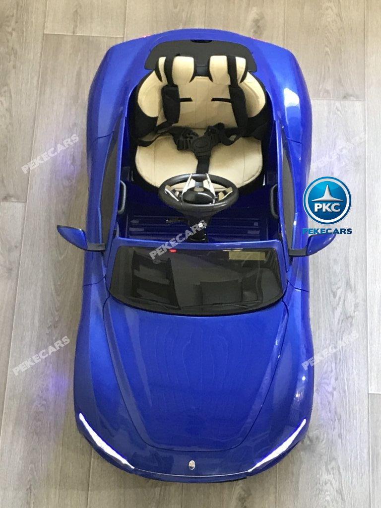 Coche electrico infantil Maserati Alfieri Azul con Pantalla MP4 aereo