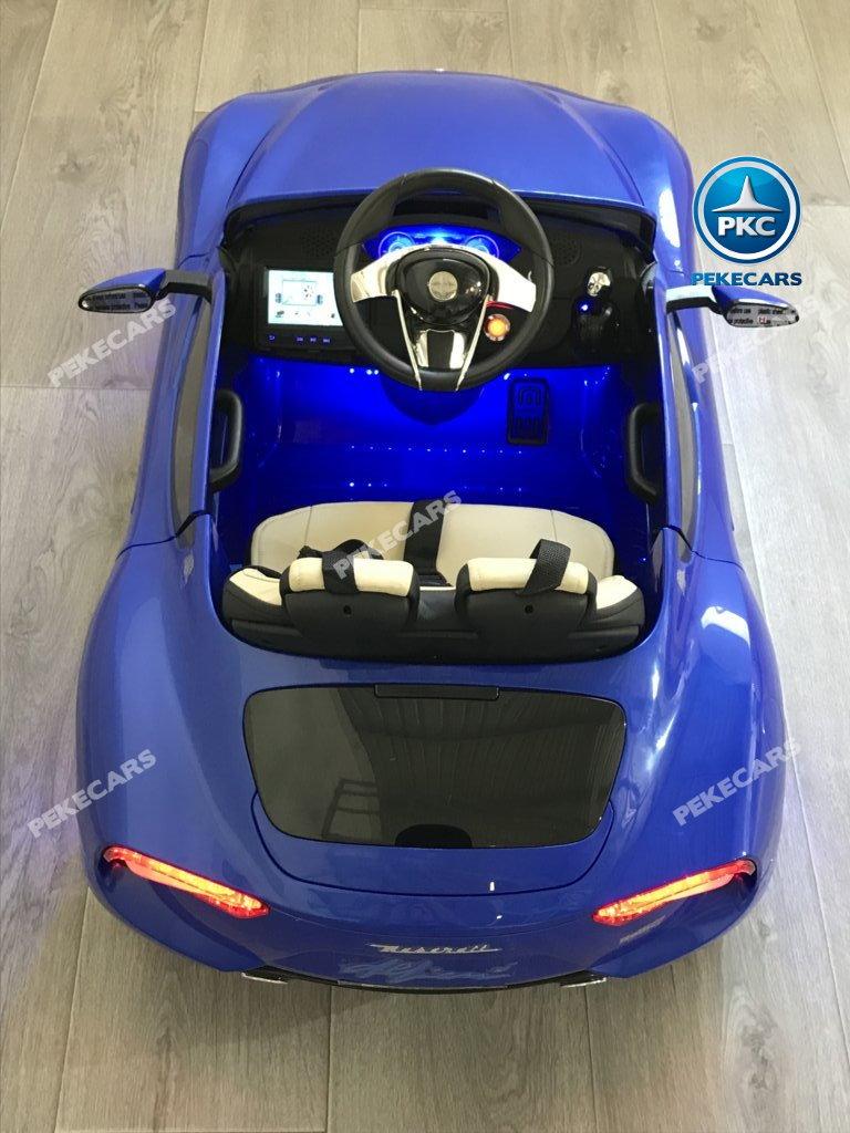 Coche electrico para niños Maserati Alfieri Azul con Pantalla MP4 desde arriba