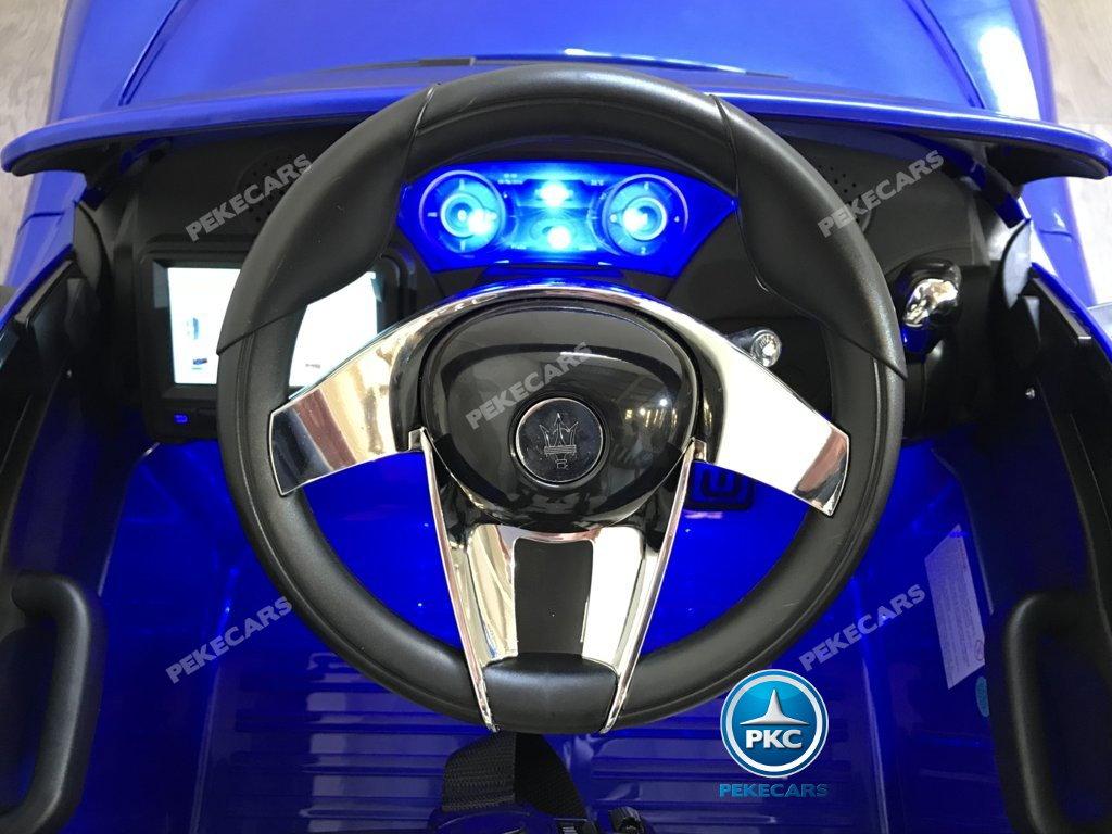 Coche electrico infantil Maserati Alfieri Azul con Pantalla MP4 volante con claxon