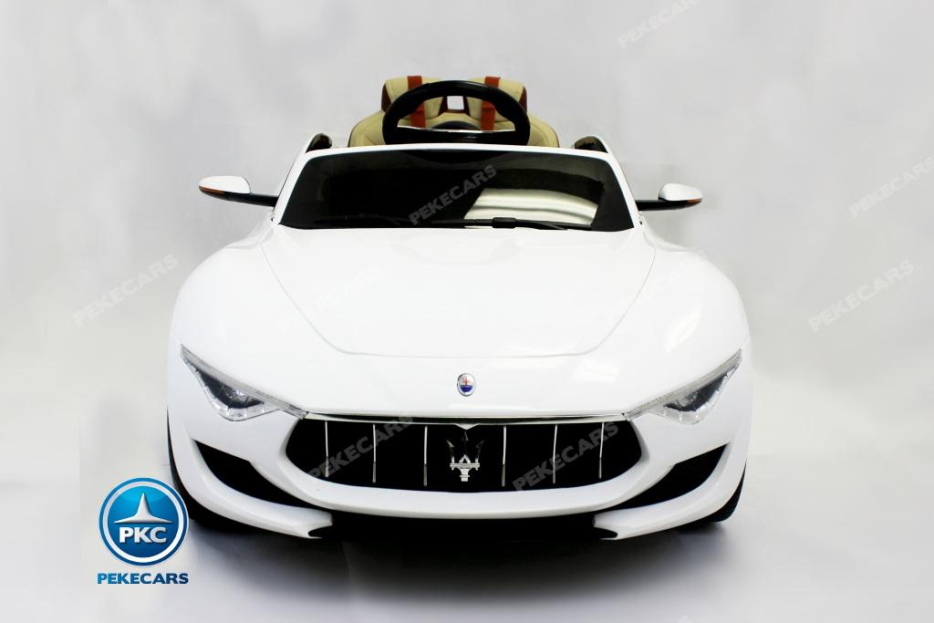 Coche electrico para niños Maserati Alfieri Blanco con Pantalla MP4 vista principal