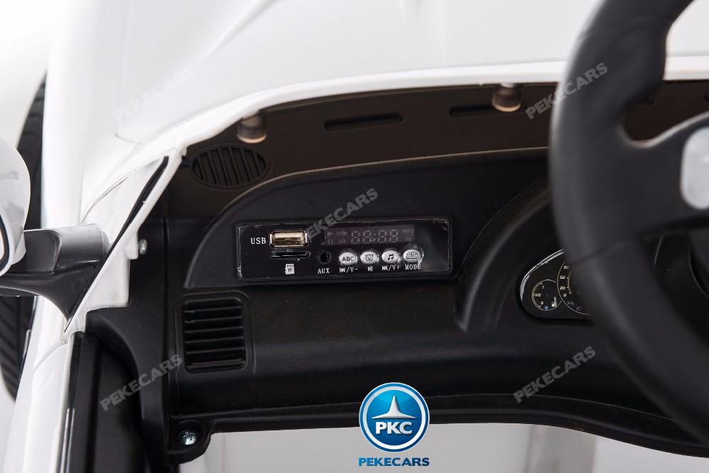 Coche electrico para niños Maserati Gran Turismo 12V Blanco conexion USB