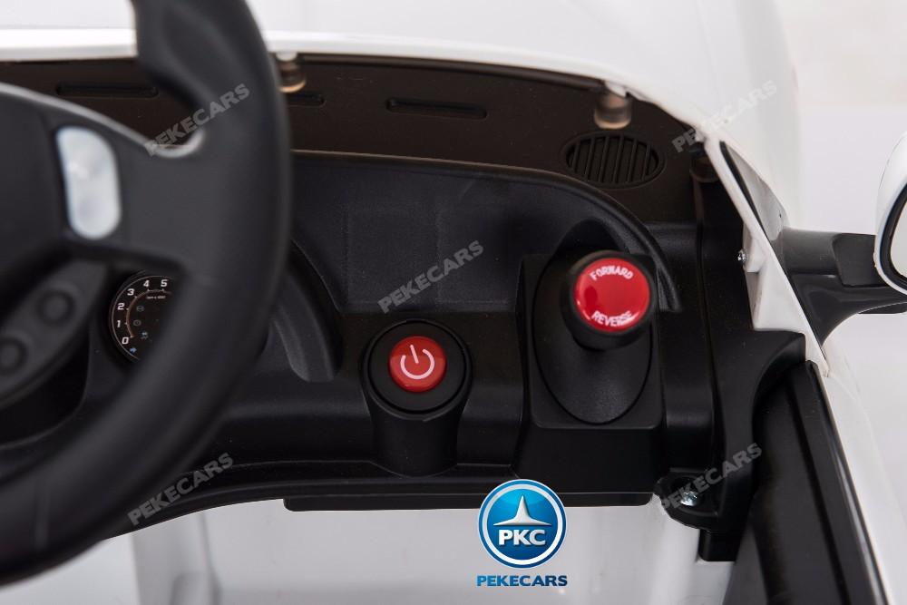 Coche electrico infantil Maserati Gran Turismo 12V Blanco boton de arranque