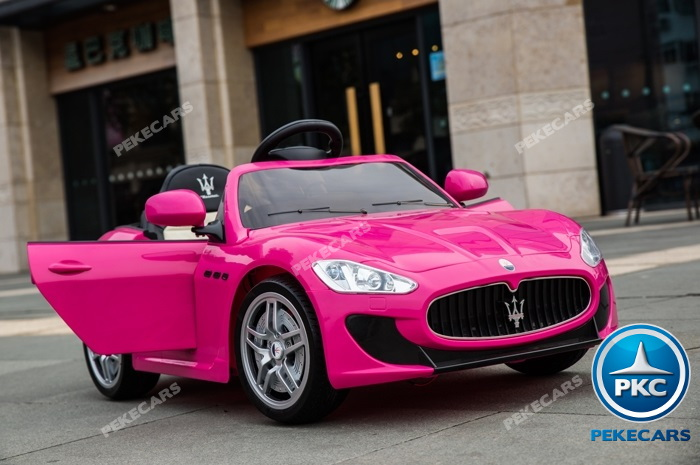 Coche electrico infantil Maserati Gran Turismo 12V Rosa con apertura de puertas