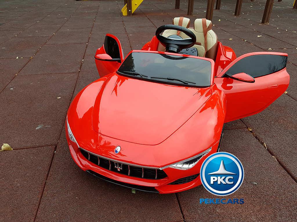 Coche electrico infantil Maserati Alfieri Rojo con Pantalla MP4 con apertura de puertas