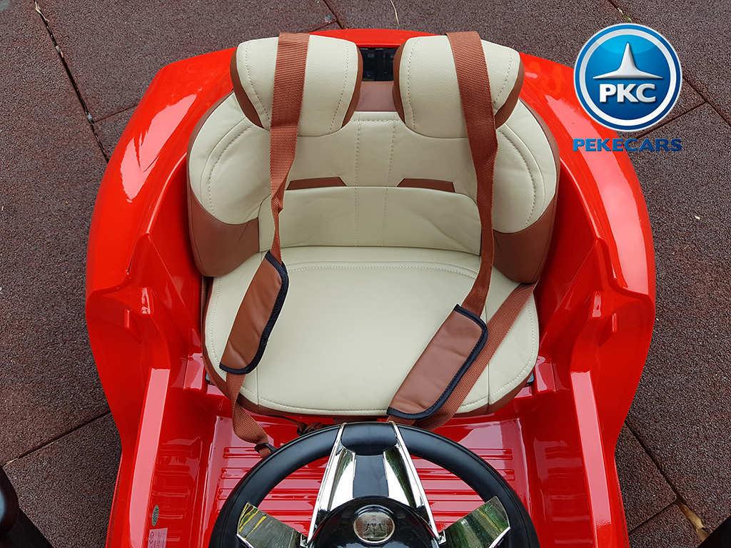 Coche electrico infantil Maserati Alfieri Rojo con Pantalla MP4 asiento piel