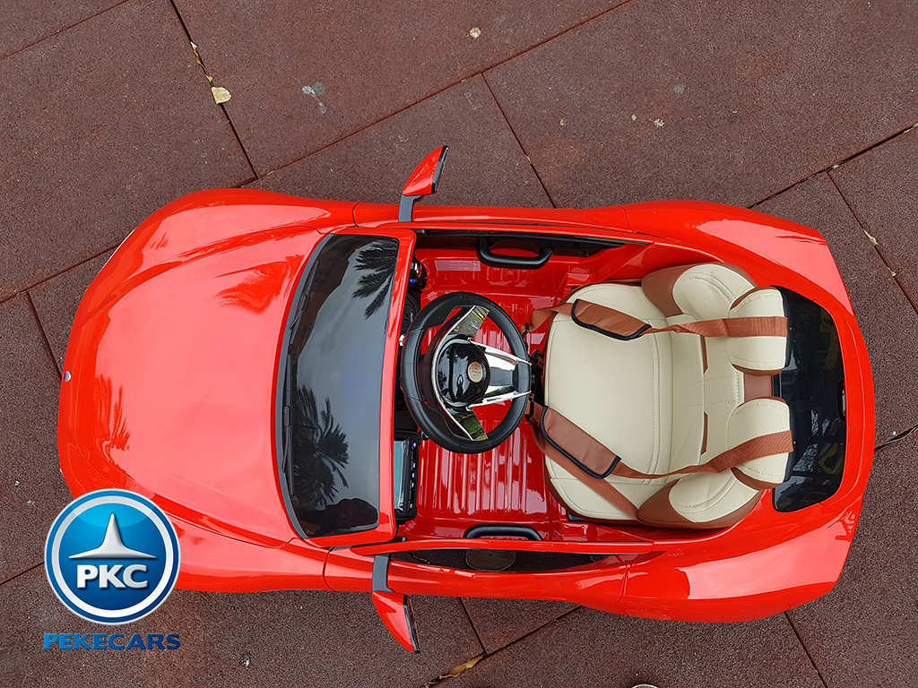 Coche electrico infantil Maserati Alfieri Rojo con Pantalla MP4 boton de arranque