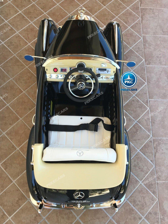 Coche electrico para niños Mercedes Benz 300S Negro visto desde arriba