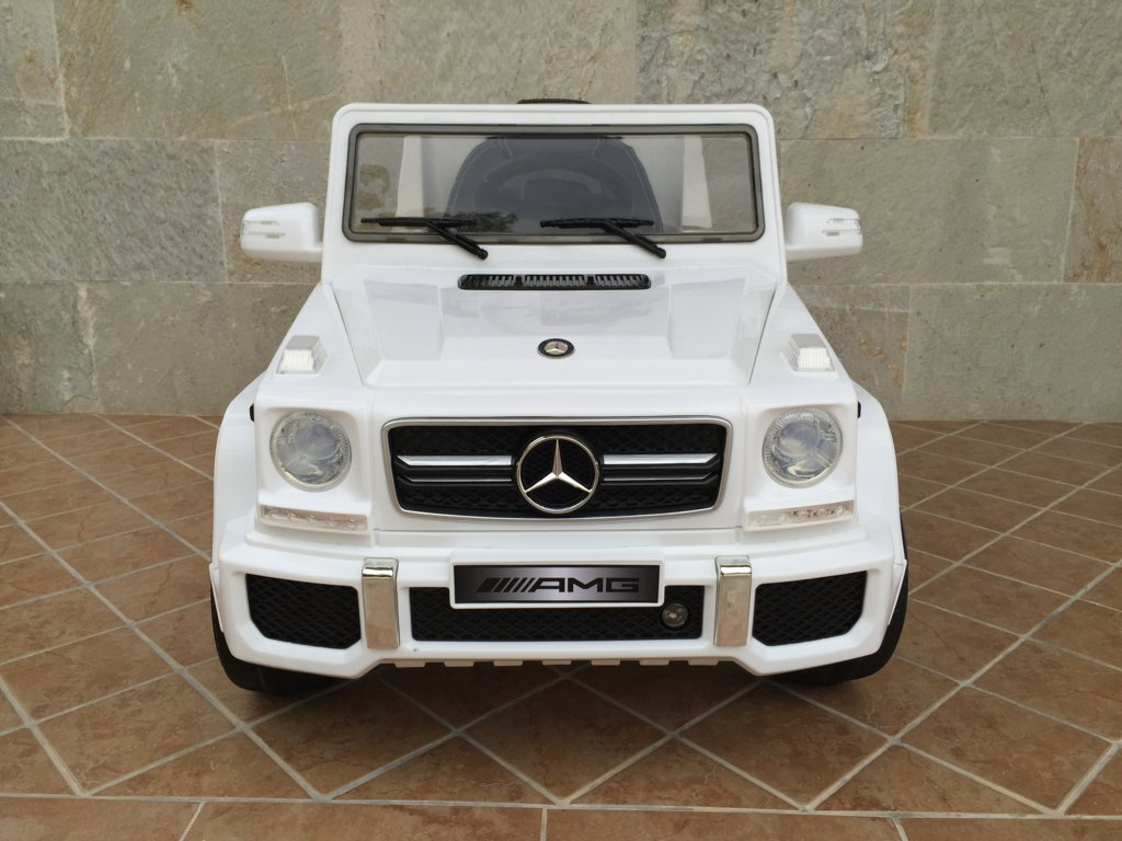 Todoterreno electrico para niños Mercedes G63 Blanco vista frontal