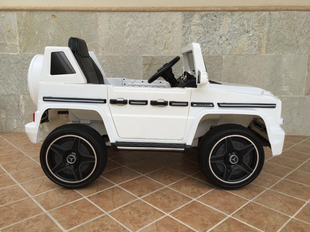 Todoterreno electrico para niños Mercedes G63 Blanco de lado