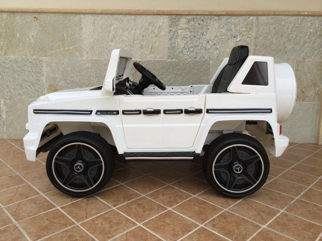 Todoterreno electrico para niños Mercedes G63 Blanco lateral