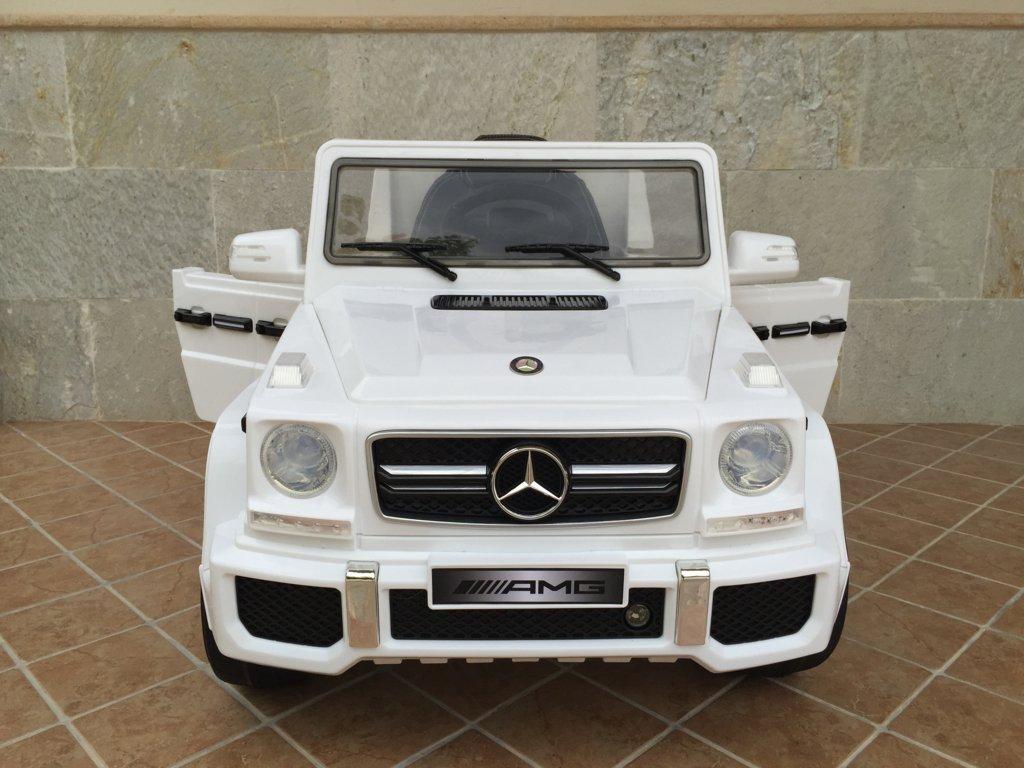 Todoterreno electrico para niños Mercedes G63 Blanco frontal