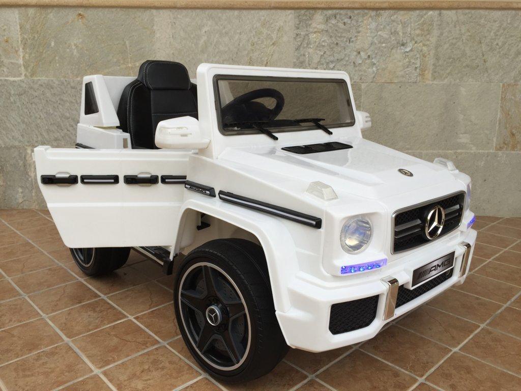 Todoterreno electrico para niños Mercedes G63 Blanco apertura de puertas