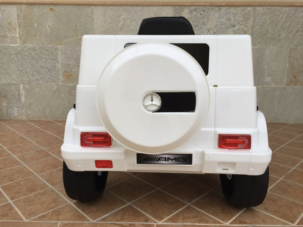 Todoterreno electrico para niños Mercedes G63 Blanco vista trasera