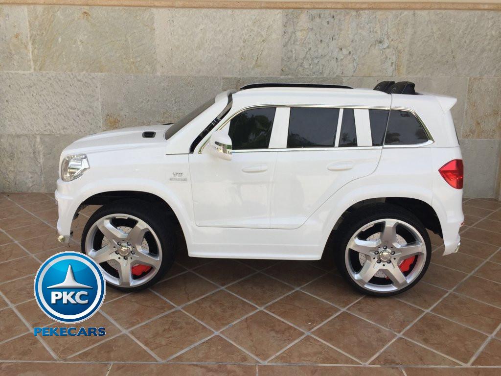 Coche electrico infantil Mercedes GL63 Blanco vista lateral