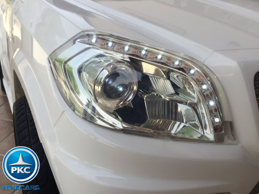 Coche electrico infantil Mercedes GL63 Blanco con luces delanteras