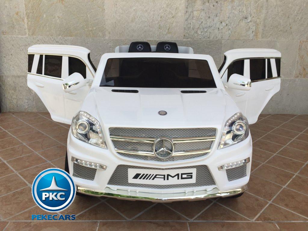 Coche electrico para niños Mercedes GL63 Blanco vista frontal
