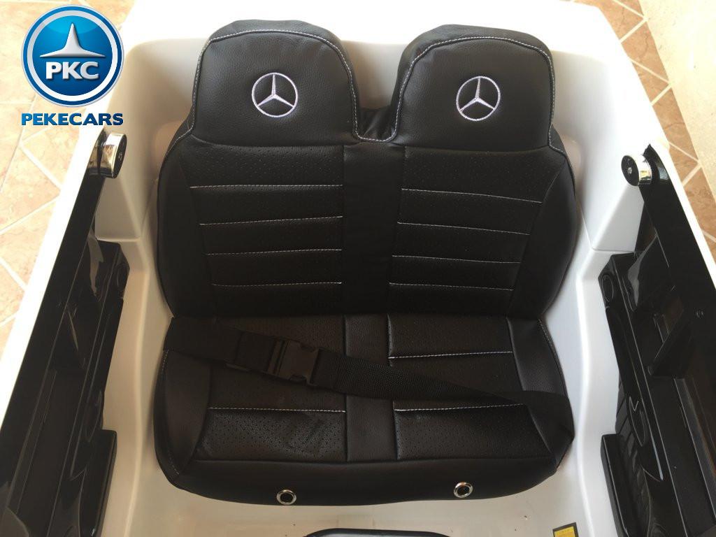 Coche electrico para niños Mercedes GL63 Blanco asiento acolchado en piel