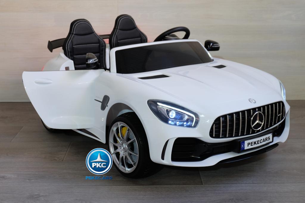 Coche electrico para niños Mercedes GTR 2 plazas Blanco con apertura de puertas
