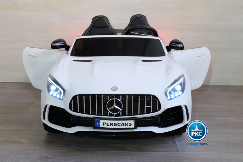 Coche electrico infantil Mercedes GTR 2 plazas Blanco vista frontal
