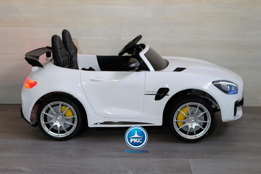 Coche electrico infantil Mercedes GTR 2 plazas Blanco lateral