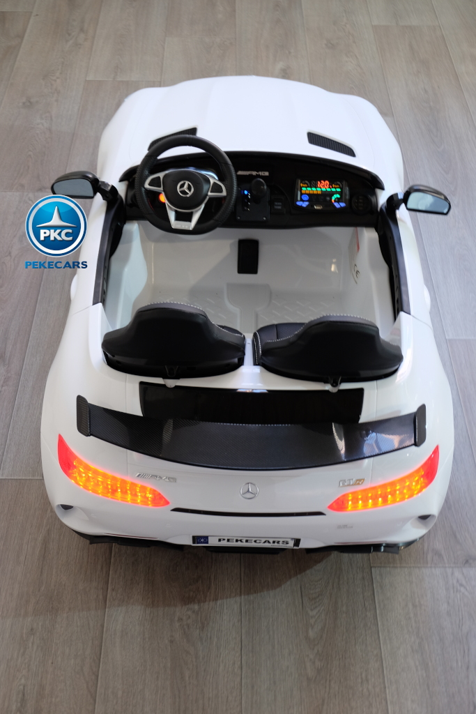 Coche electrico infantil Mercedes GTR 2 plazas Blanco detalles del interior