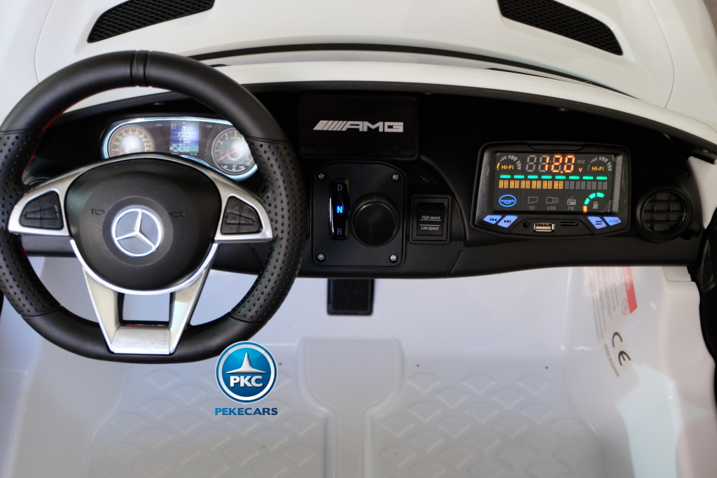 Coche electrico para niños Mercedes GTR 2 plazas Blanco volante a la izquierda