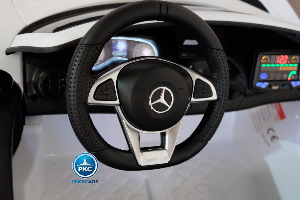 Coche electrico infantil Mercedes GTR 2 plazas Blanco volante con claxon y musica