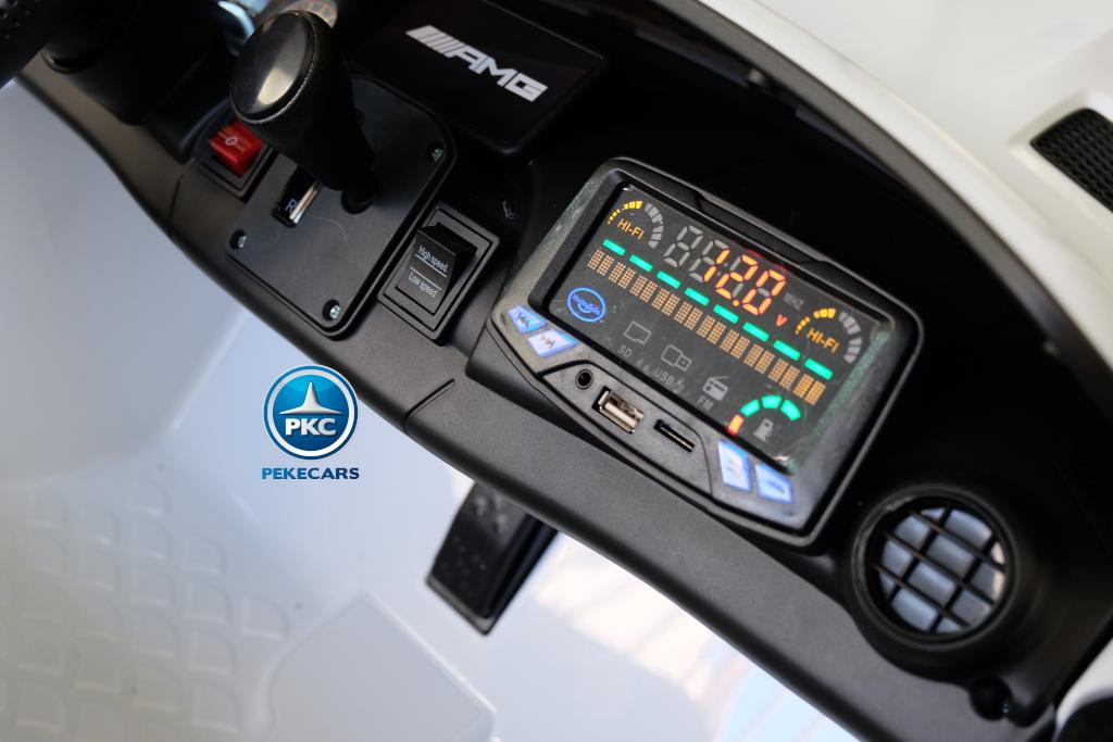 Coche electrico para niños Mercedes GTR 2 plazas Blanco dashboard