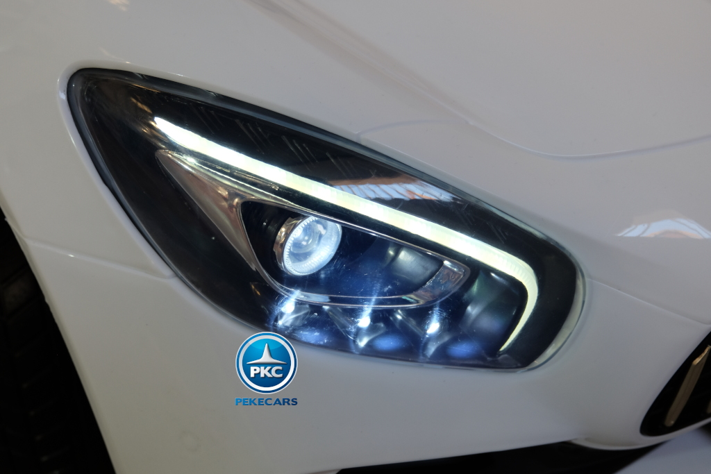 Coche electrico infantil Mercedes GTR 2 plazas Blanco luces frontales