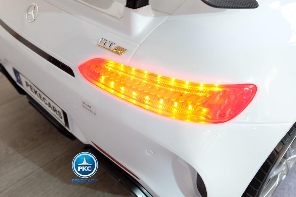 Coche electrico infantil Mercedes GTR 2 plazas Blanco luces traseras