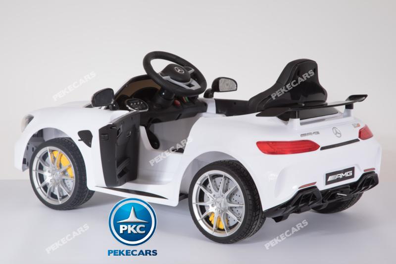 Coche electrico para niños Mercedes GTR 12V Blanco con apertura de puertas