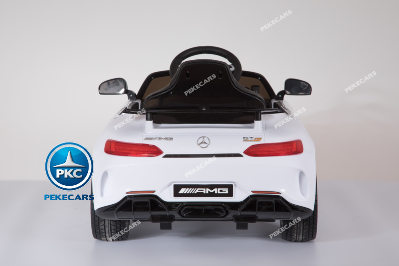 Coche electrico infantil Mercedes GTR 12V Blanco vista trasera