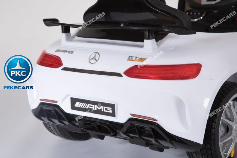 Coche electrico para niños Mercedes GTR 12V Blanco con luces traseras