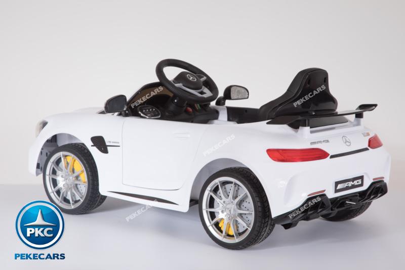 Coche electrico infantil Mercedes GTR 12V Blanco tarjeta micro SD
