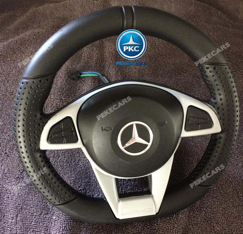 Coche electrico para niños Mercedes GTR 12V Blanco volante con musica y claxon