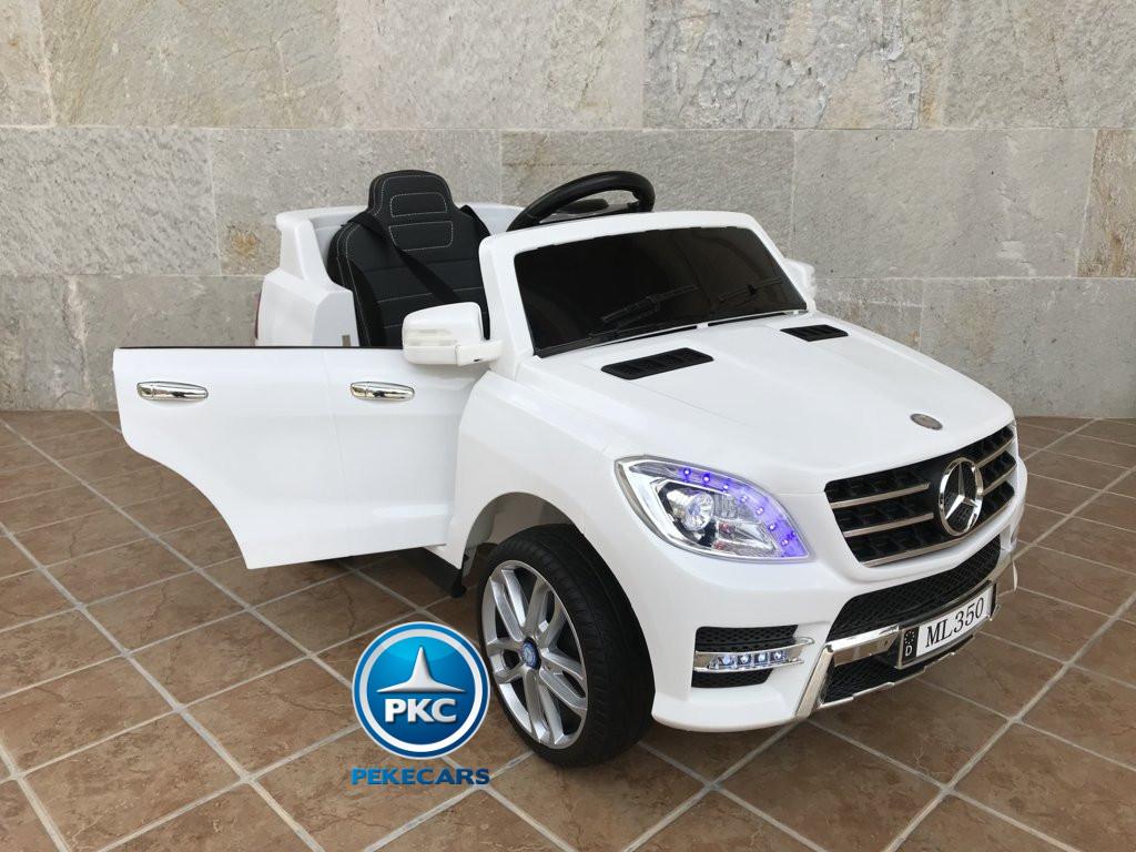 Coche electrico infantil Mercedes ML-350 Blanco con apertura de puertas