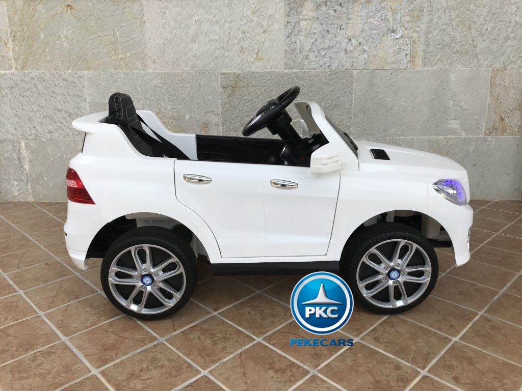 Coche electrico para niños Mercedes ML-350 Blanco lateral
