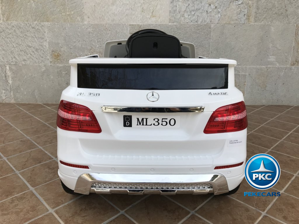 Coche electrico infantil Mercedes ML-350 Blanco vista trasera