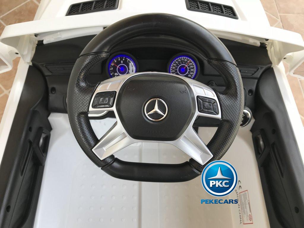 Coche electrico para niños Mercedes ML-350 Blanco volante con musica y claxon