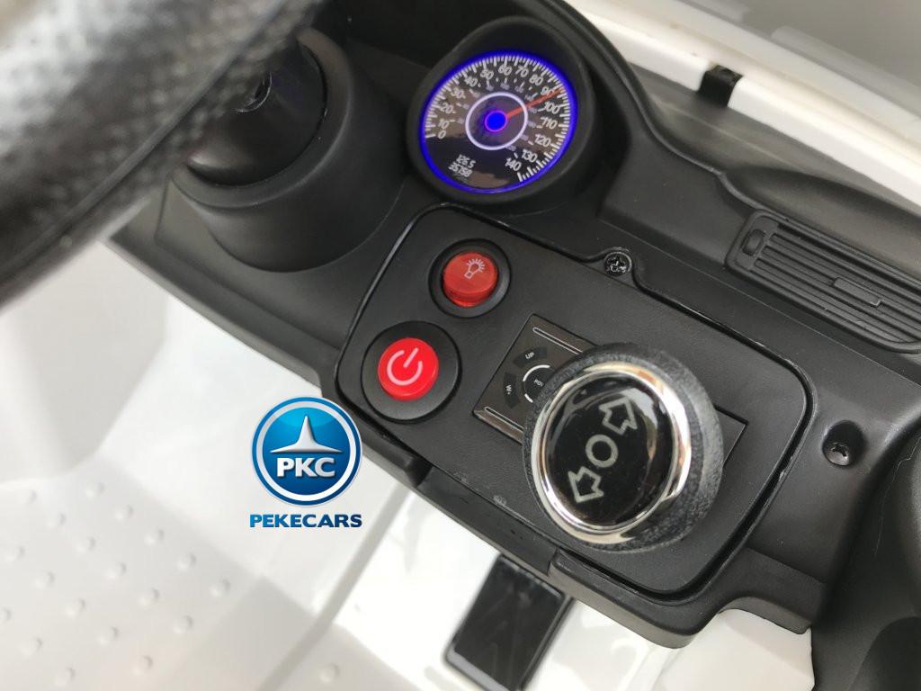 Coche electrico para niños Mercedes ML-350 Blanco boton de encendido