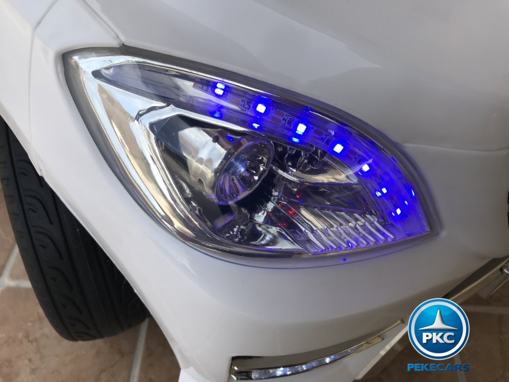 Coche electrico infantil Mercedes ML-350 Blanco luces frontales