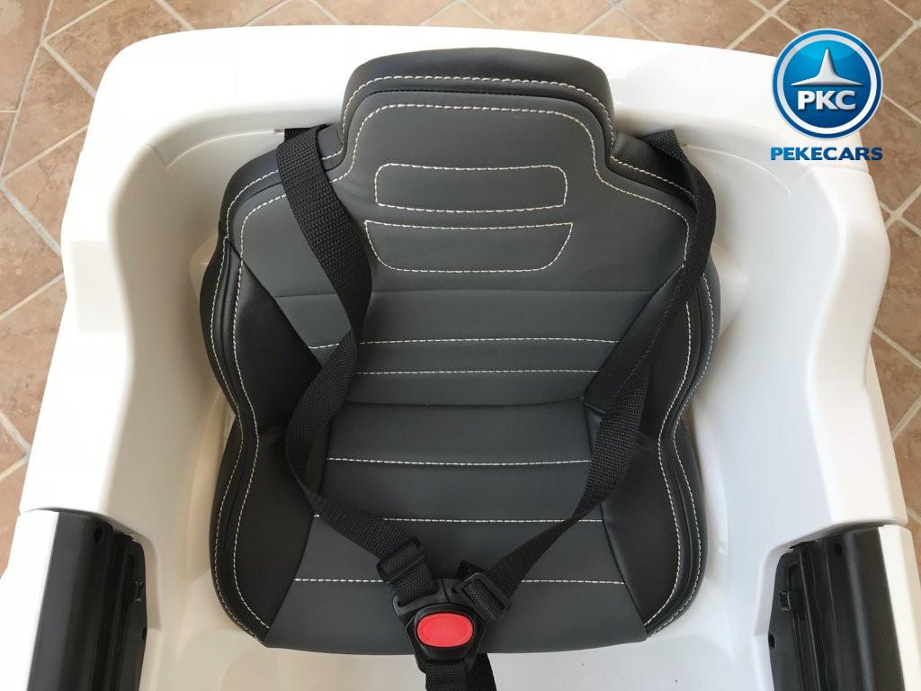 Coche electrico para niños Mercedes ML-350 Blanco asiento acolchado en piel