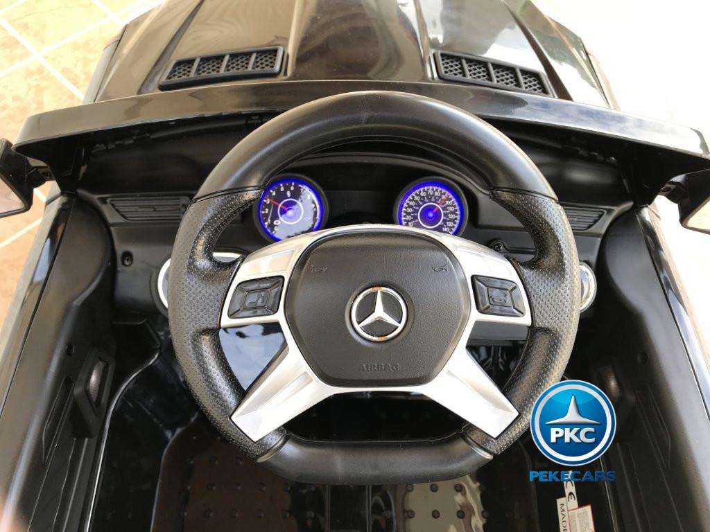 Coche electrico para niños Mercedes ML-350 Negro volante con musica y claxon
