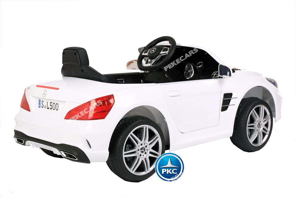 Coche electrico para niños Mercedes SL500 Blanco vista lateral