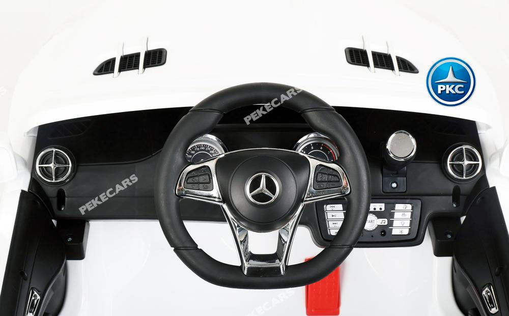 Coche electrico para niños Mercedes SL500 Blanco volante con musica y claxon